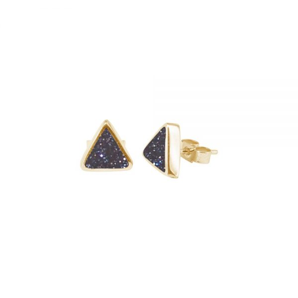Yellow Gold Blue Goldstone Triangular Stud Earrings