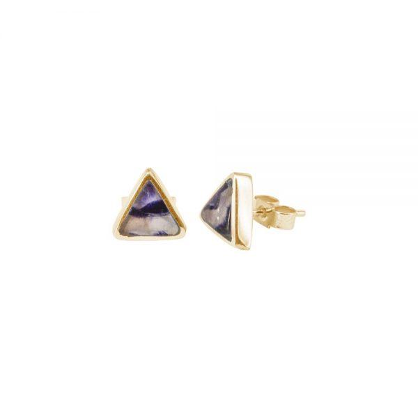 Yellow Gold Blue John Triangular Stud Earrings