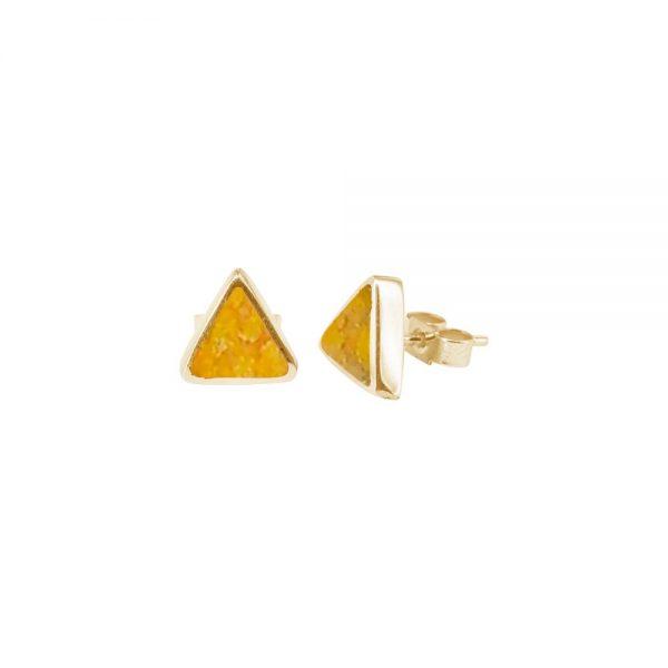 Yellow Gold Bumblebee Jasper Triangular Stud Earrings