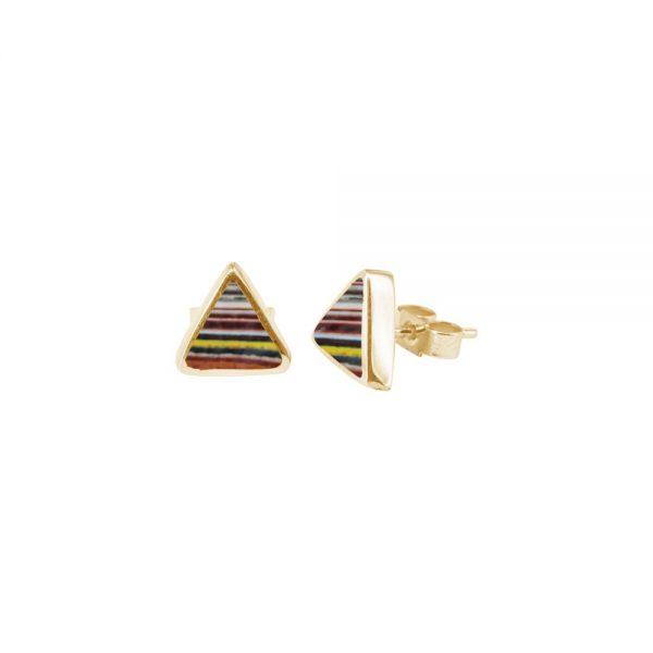 Yellow Gold Fordite Triangular Stud Earrings