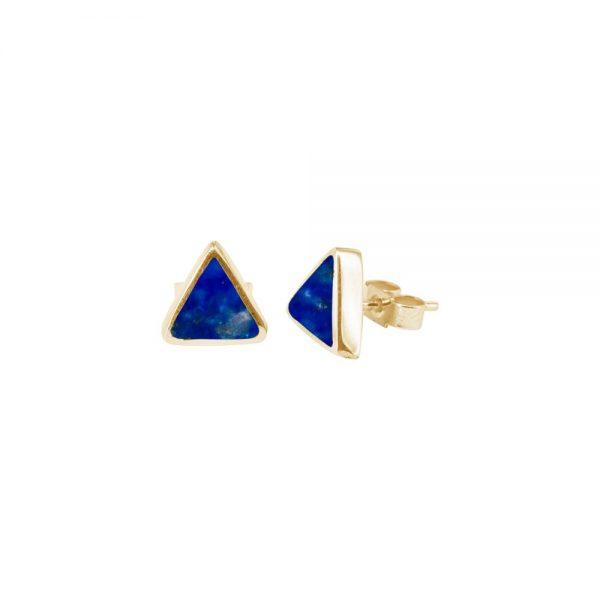 Yellow Gold Lapis Triangular Stud Earrings