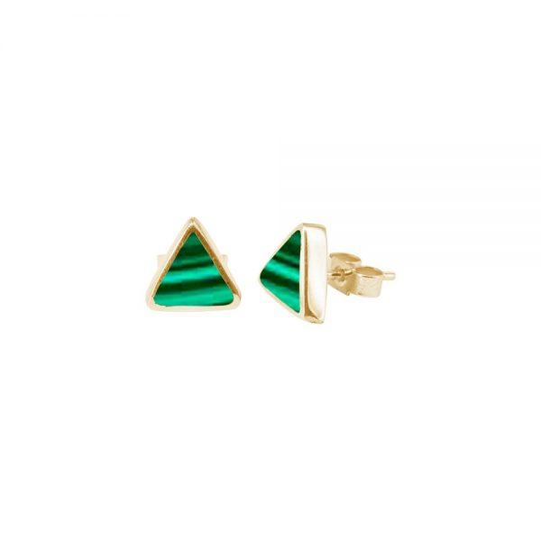 Yellow Gold Malachite Triangular Stud Earrings