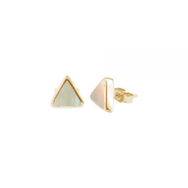 Yellow Gold Mother of Pearl Triangular Stud Earrings