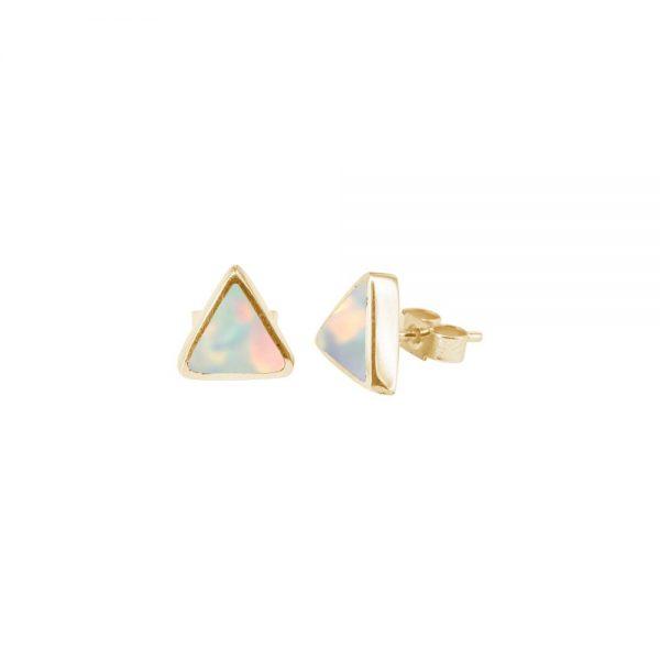 Yellow Gold Opalite Sun Ice Triangular Stud Earrings