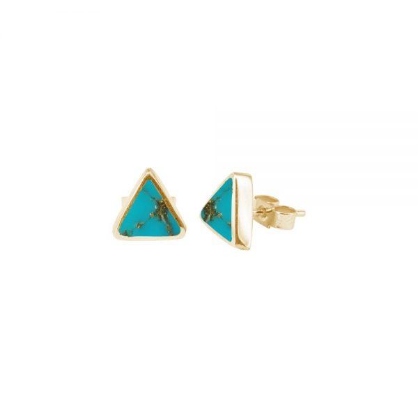 Yellow Gold Turquoise Triangular Stud Earrings