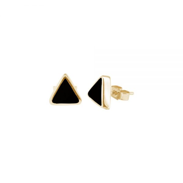 Yellow Gold Whitby Jet Triangular Stud Earrings