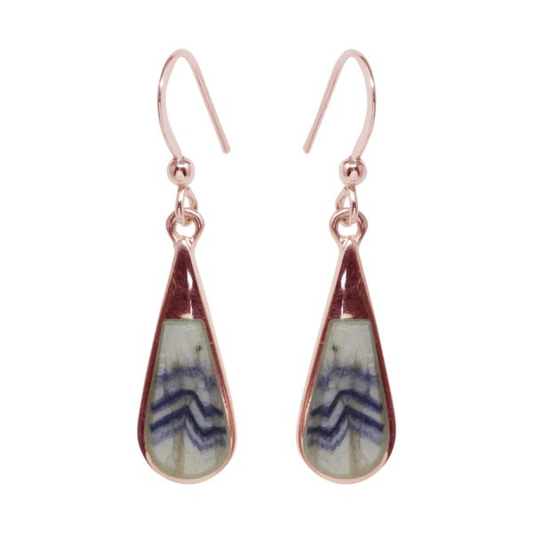 Rose Gold Blue John Drop Earrings