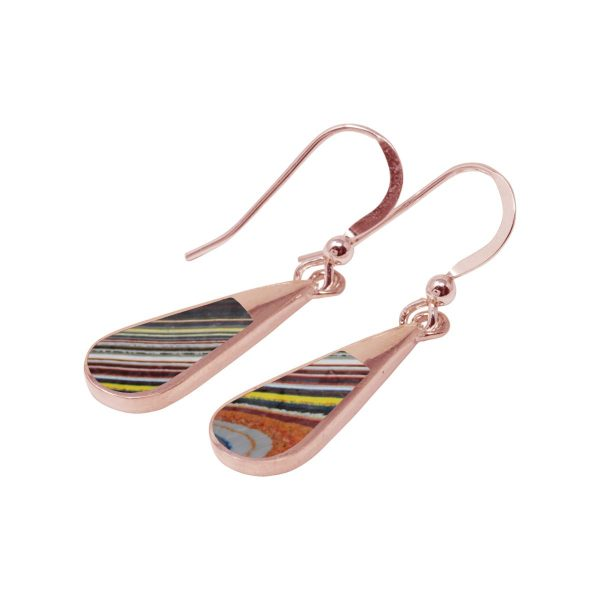 Rose Gold Fordite Drop Earrings