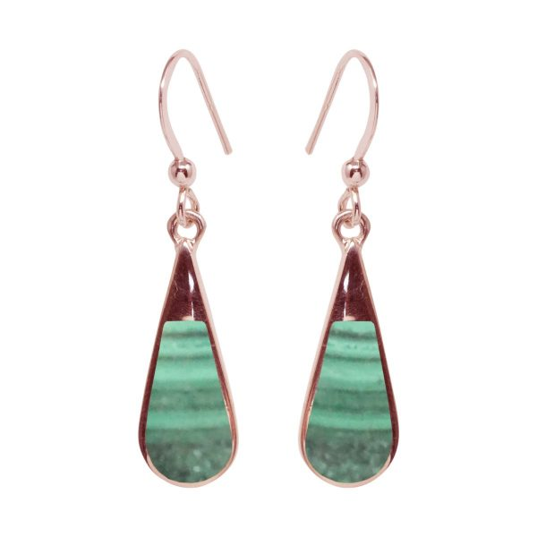 Rose Gold Malachite Drop Earrings