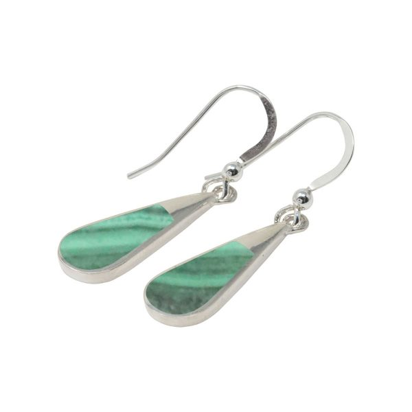 Silver Malachite Drop Earrings