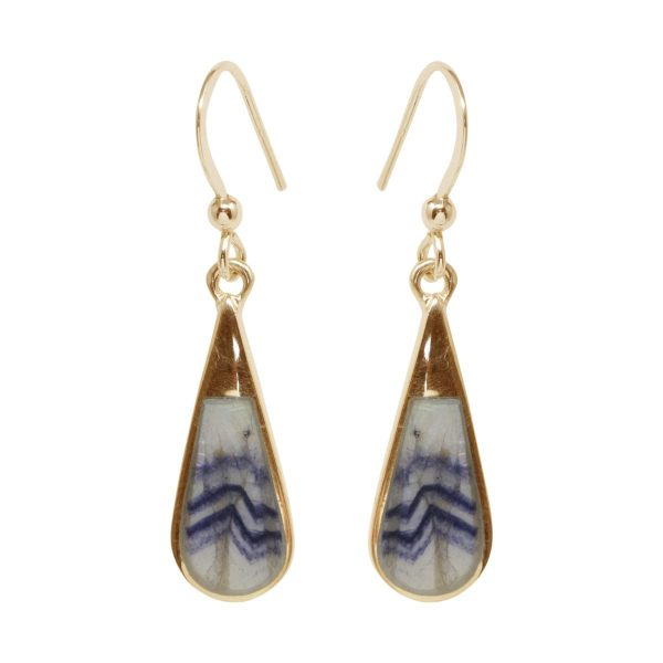 Gold Blue John Drop Earrings