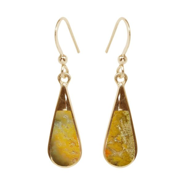 Gold Bumblebee Jasper Drop Earrings