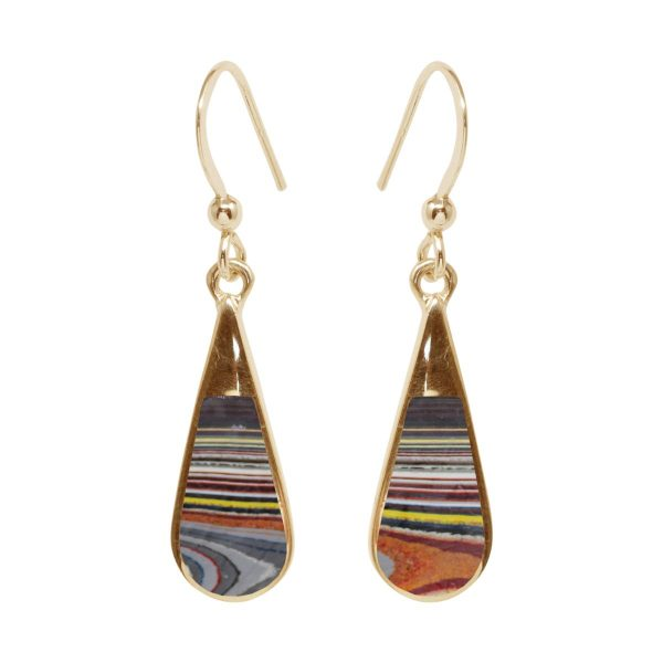 Gold Fordite Drop Earrings