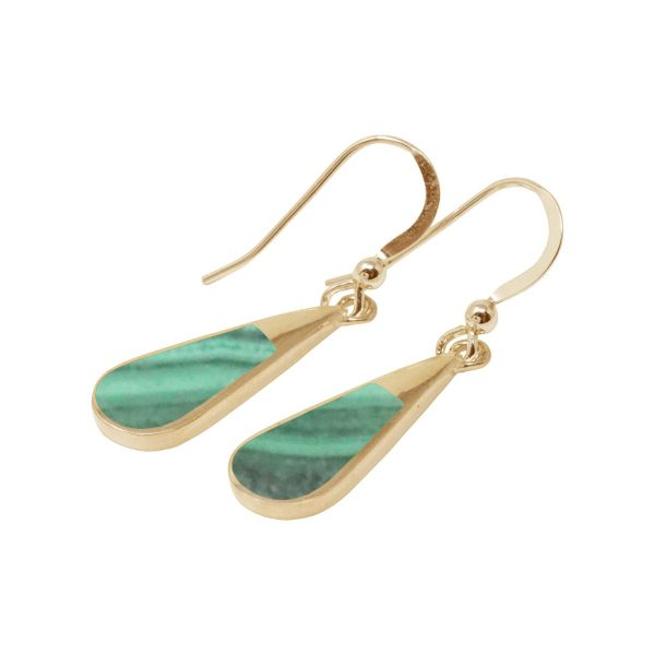 Gold Malachite Drop Earrings