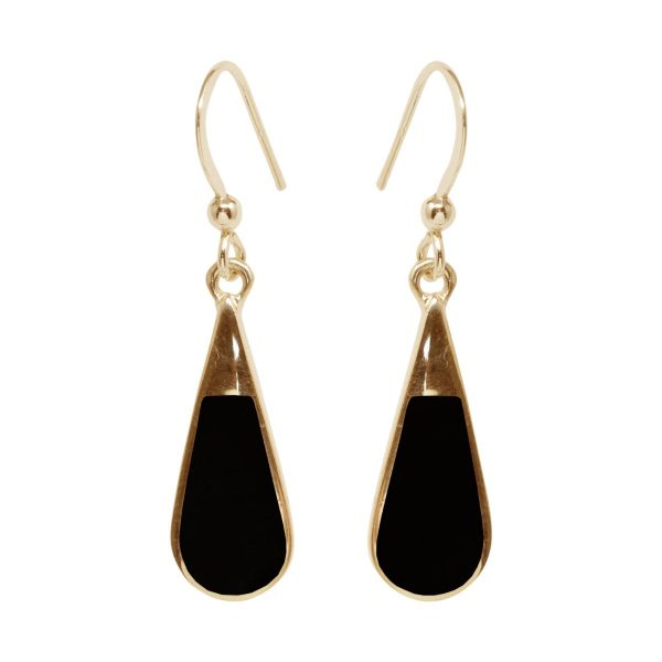 Gold Whitby Jet Drop Earrings