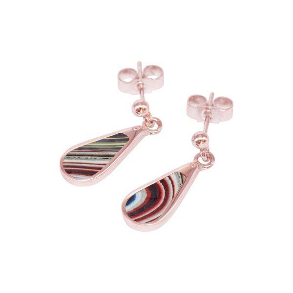 Rose Gold Fordite Drop Earrings