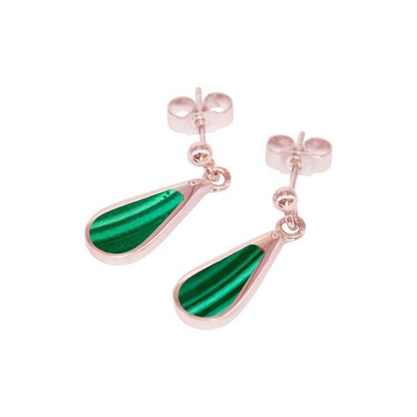 Rose Gold Malachite Drop Earrings
