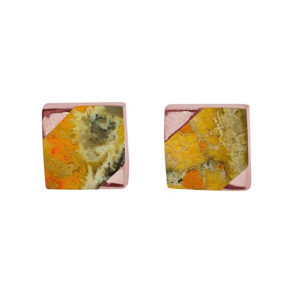 Rose Gold Bumblebee Square Stud Earrings