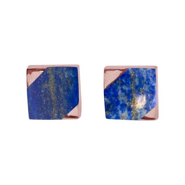Rose Gold Lapis Square Stud Earrings