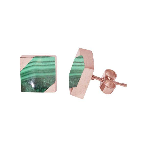 Rose Gold Malachite Square Stud Earrings