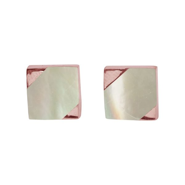 Rose Gold Mother of Pearl Square Stud Earrings