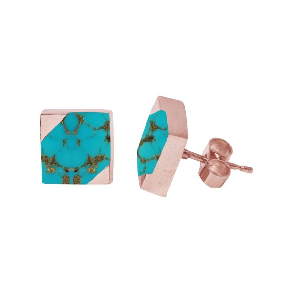Rose Gold Turquoise Square Stud Earrings