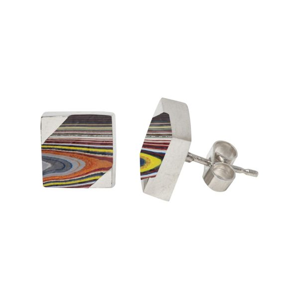 Silver Fordite Square Stud Earrings