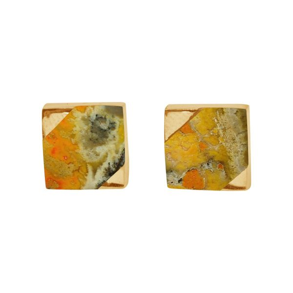 Gold Bumblebee Square Stud Earrings