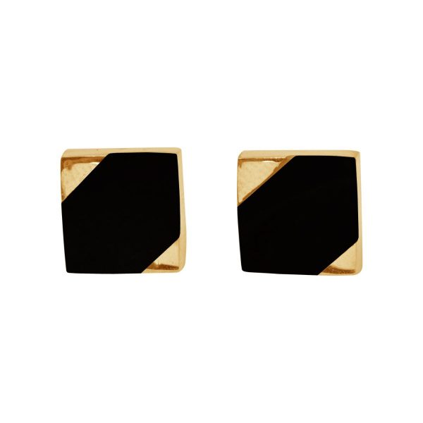Gold Whitby Jet Square Stud Earrings