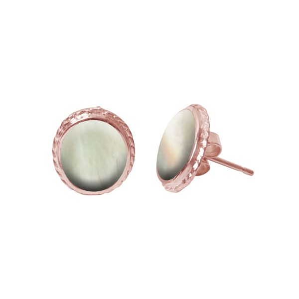 Rose Gold Mother of Pearl Stud Earrings