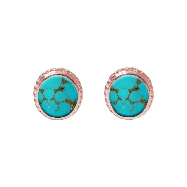 Rose Gold Turquoise Stud Earrings