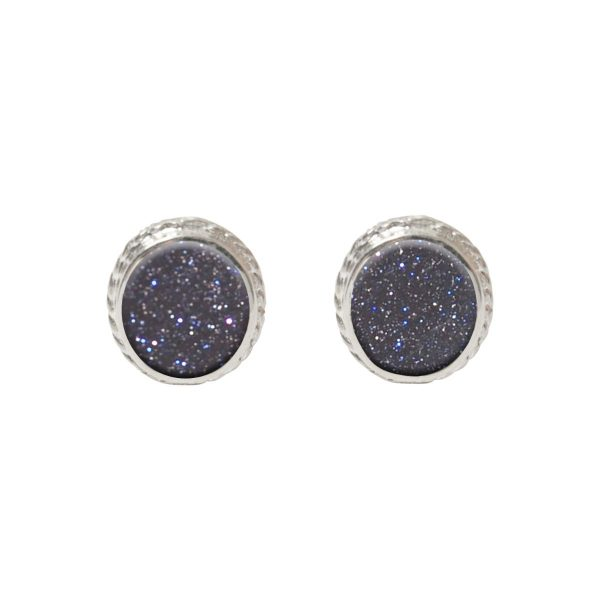 Silver Blue Goldstone Studs