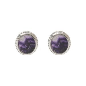 Silver Blue John Oval Stone Beaded Edge Stud Earrings