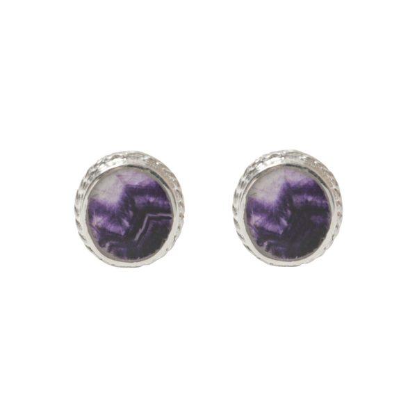Silver Blue John Oval Stone Beaded Edge Stud Earrings