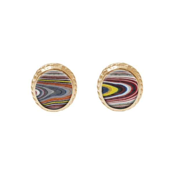 Yellow Gold Fordite Stud Earrings
