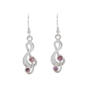 Silver Blue John Treble Clef Drop Earrings
