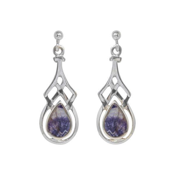 Silver Celtib Blue John Drop Earrings