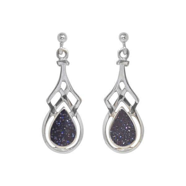White Gold Blue Goldstone Celtic Drop Earrings