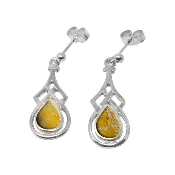 White Gold Bumblebee Jasper Celtic Drop Earrings