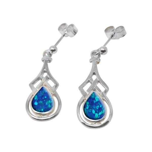 White Gold Opalite Cobalt Blue Celtic Drop Earrings