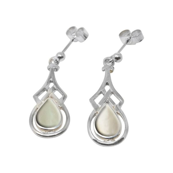 White Gold Mother of Pearl Celtic Drop Earrings