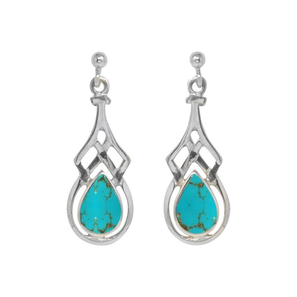 White Gold Turquoise Celtic Drop Earrings