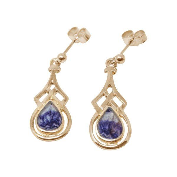 Gold Blue John Drop Earrings