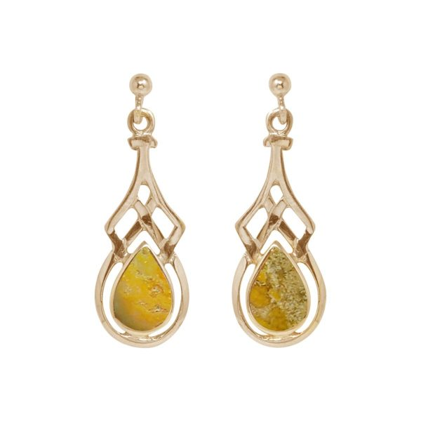 Gold Bumblebee Jasper Drop Earrings