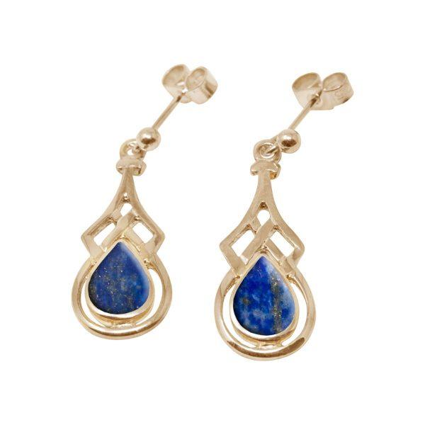 Gold Lapis Drop Earrings