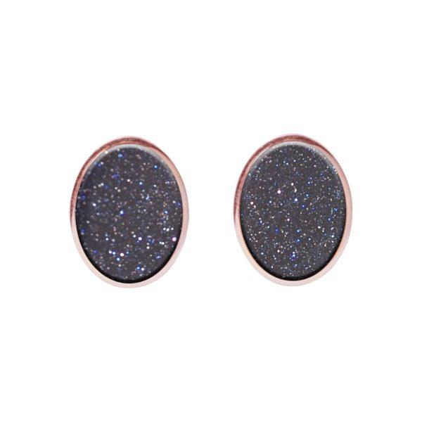 Rose Gold Blue Goldstone Oval Stud Earrings
