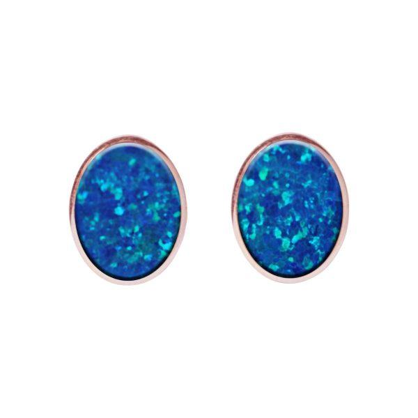 Rose Gold Opalite Cobalt Blue Oval Stud Earrings
