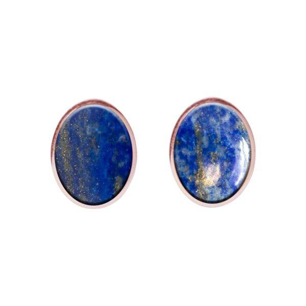 Rose Gold Lapis Oval Stud Earrings
