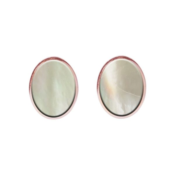 Rose Gold Mother of Pearl Oval Stud Earrings