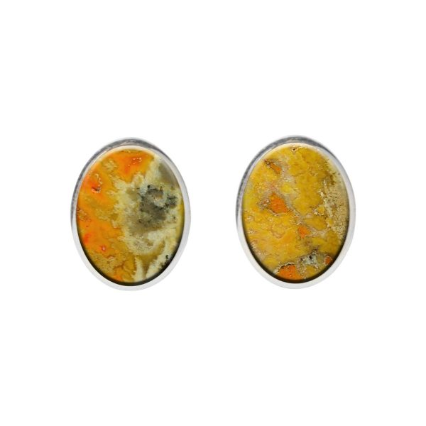 Silver Bumblebee Oval Stud Earrings